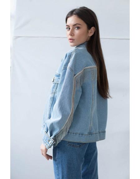Джинсовая куртка Crop с декором