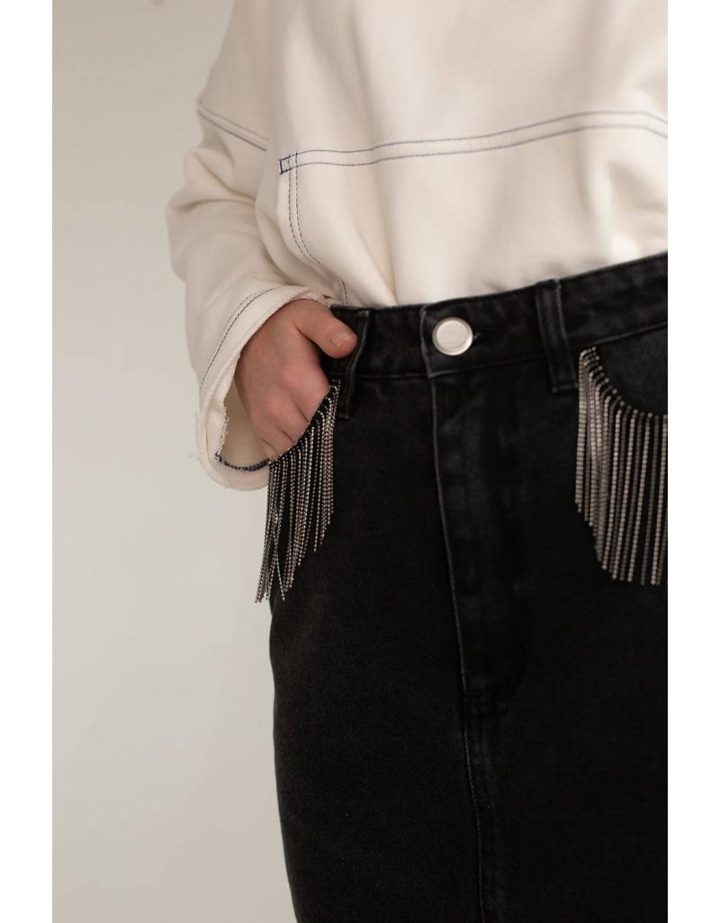 Джинсовая юбка с декором
