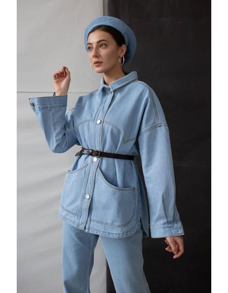 Удлиненная куртка-рубашка с разрезами