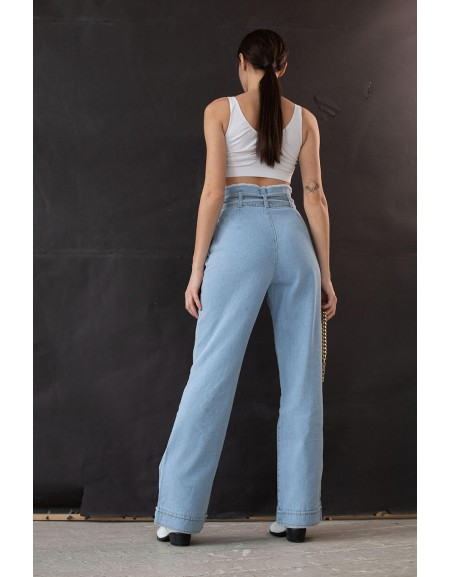Широкие джинсы c джинсовым поясом