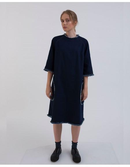 Джинсовое платье с декором